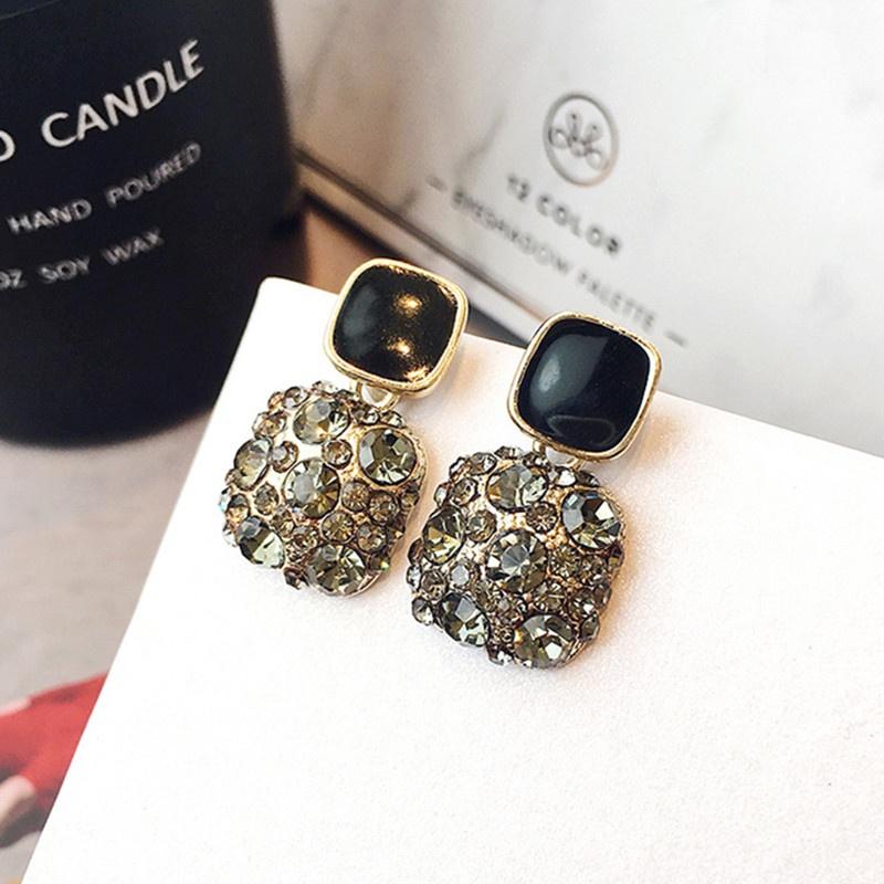 fashion square diamond earrings NHOT336768