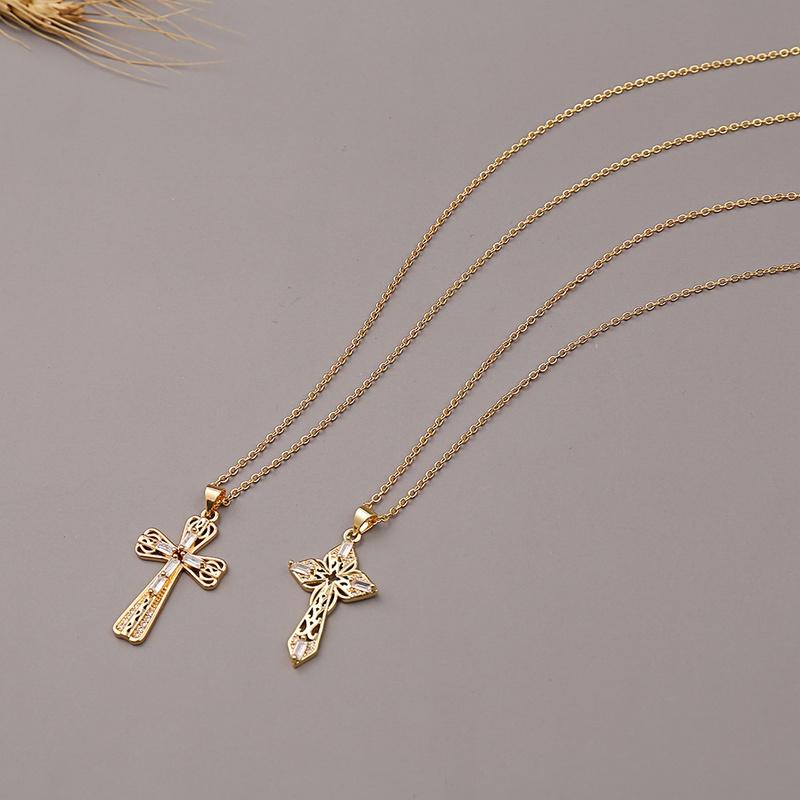 Fashion cross copper zircon necklace wholesale  NHBU336494