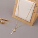 Korea Copper Microinlaid Zircon Cross Necklace NHBU336497