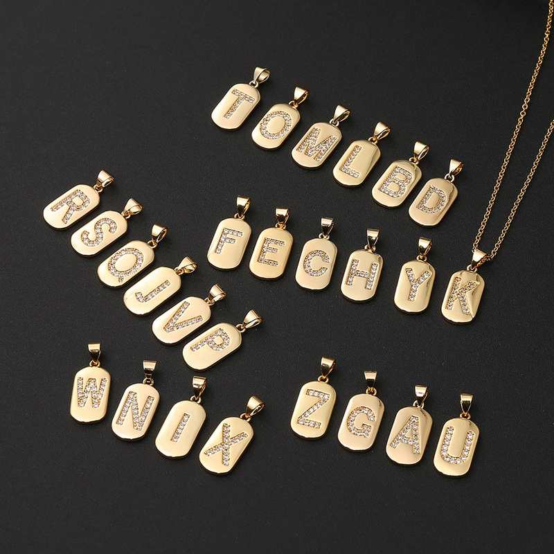 Simple Copper Zircon 26 English Letter Necklace NHBU336499