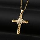 Fashion sixpointed star cross copper zircon necklace wholesale NHBU336503