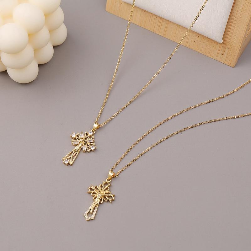 Fashion copper microinlaid zircon cross Jesus necklace NHBU336504