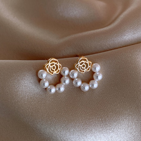 Pendientes de perlas de pétalos NHOT336765's discount tags