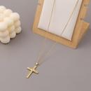 Fashion devils eye cross copper zircon necklace wholesale NHBU336505