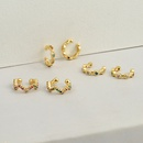 Fashion geometric copper color zircon earrings wholesale NHBU336506