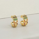 Fashion geometric copper microinlaid color zircon ear clips NHBU336507