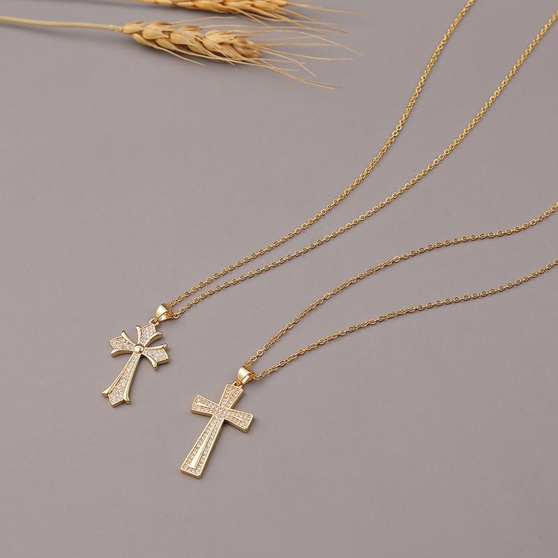 Fashion cross Christian copper zircon necklace wholesale NHBU336509