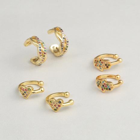 Boucles d'oreilles fantaisie en forme de cœur en forme de cœur de paume en zircon micro-incrusté de cuivre NHBU336513's discount tags