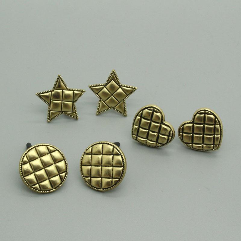 Korean retro distressed geometric plaid earrings  NHGO336514