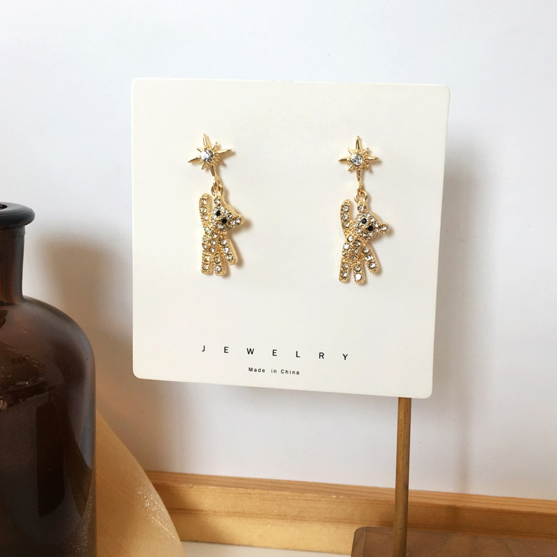 Fashion Star Microencrusted Diamond Bear Earrings NHBY336523