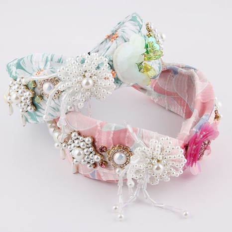 fashion colorful flower diamond-studded tassel headband NHWJ336525's discount tags