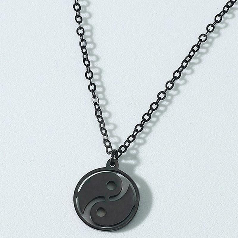 Fashion Tai Chi Gossip Titanium Steel Necklace NHACH336532