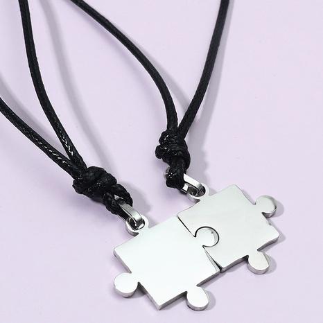 Koreanische Edelstahl Puzzle Halskette Großhandel NHACH336535's discount tags