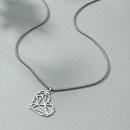 Fashion Hollow HeartShaped Titanium Steel Necklace  NHACH336537
