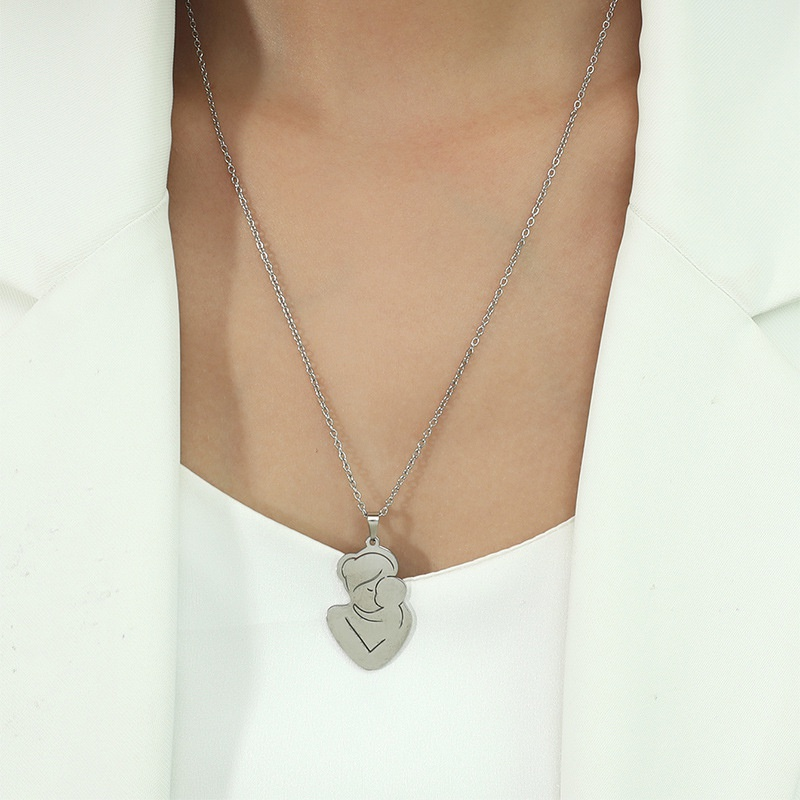 Fashion Hug Titanium Steel Necklace Wholesale NHACH336541