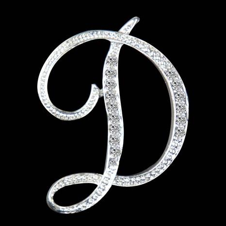 Broche en diamant simple 26 alphabet anglais en gros NHAYN336546's discount tags