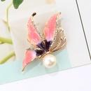 Retro butterfly rhinestone dripping pearl brooch NHAYN336550