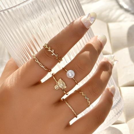 conjunto creativo de anillos de perlas con cabeza de leopardo NHAJ336762's discount tags