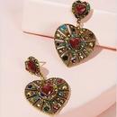 retro heart color diamond pendant earrings NHAYN336583