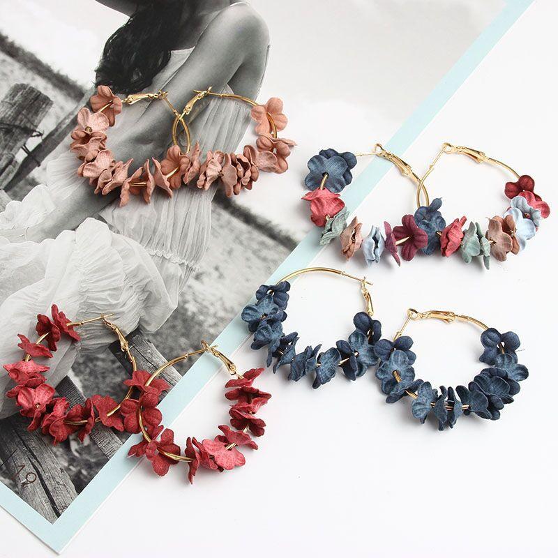 Korean fabric flower earrings  NHAYN336592