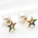 Heartshape pearl asymmetrical diamondstudded earrings wholesale NHAYN336597