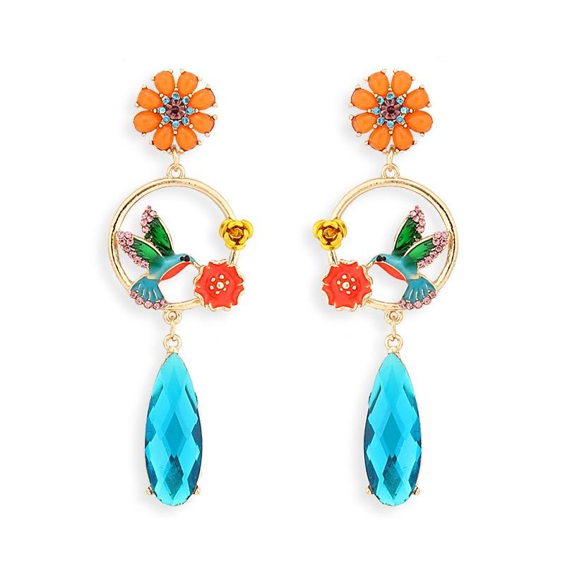 ethnic style flower and bird pendant earrings NHAYN336599