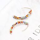 Bohemian Multicolor Beads Curved Earrings NHAYN336602