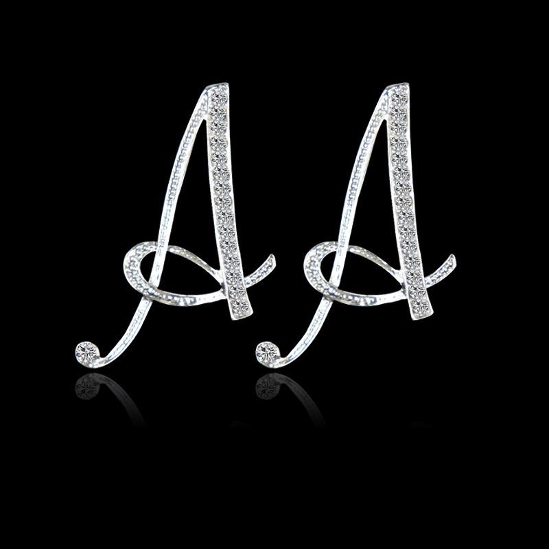 Fashion 26 English alphabet alloy diamond earrings NHAYN336607