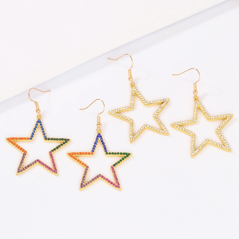 Korean hollow fivepointed star earrings NHAYN336609