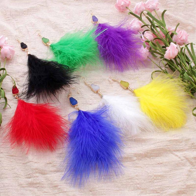 fashion feather earrings wholesale NHAYN336625