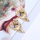 retro rhinestone leaf alloy earrings  NHAYN336630
