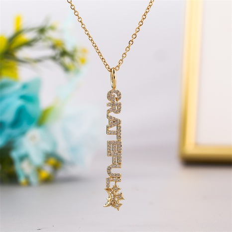 Fashion long copper inlaid zirconium letter necklace NHLA336631's discount tags