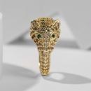 retro copper inlaid zirconium leopard open ring NHLA336632