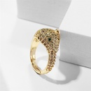 retro copper inlaid zirconium leopard open ring NHLA336632