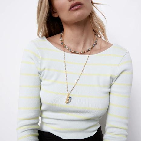 Mode lange Naturstein mehrschichtige Halskette NHLA336638's discount tags