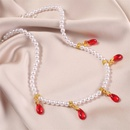 Simple crystal pearl alloy necklace NHLA336637