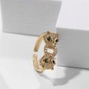 retro copper inlaid zirconium animal ring  NHLA336640
