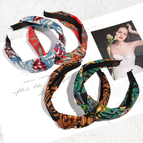 retro bronzing leaf printing hair band NHAQ336645's discount tags
