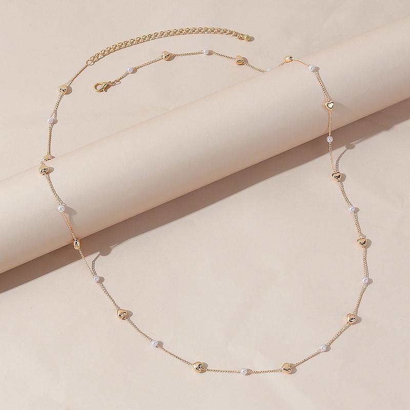 Retro heartshape pearl alloy waist chain wholesale NHPS336666