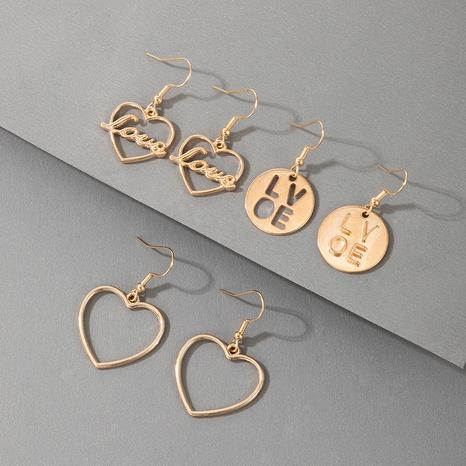 lindo conjunto de aretes con letras huecas geométricas en forma de corazón NHGY336747's discount tags