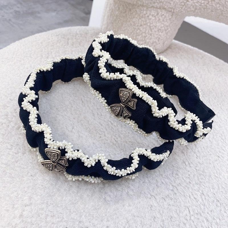 Korean fold pearl widebrimmed hair band  NHSM336354