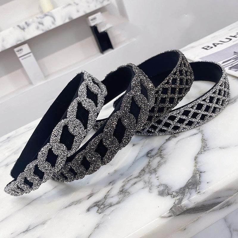 Korean rhinestone chain mesh widesided hair band NHSM336345