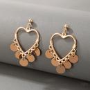 simple disc tassel peach heart love earrings NHGY336742