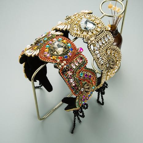 new fashion heart shaped glass diamond flower headband NHLN336735's discount tags