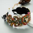 new fashion heart shaped glass diamond flower headband NHLN336735