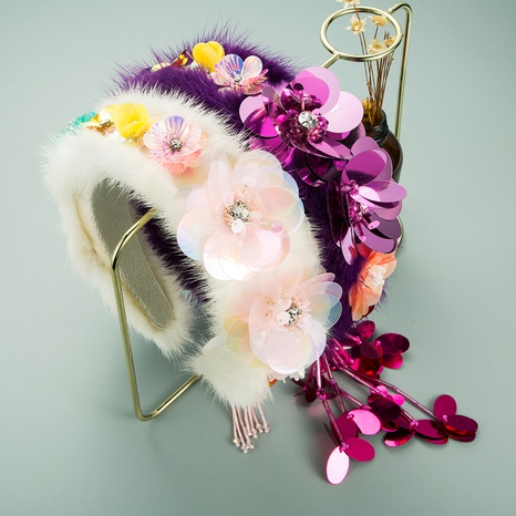 ethnic style flower fringed headband NHLN336733's discount tags