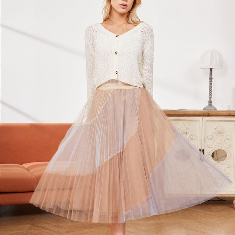 Mesh irregular stitching aline pleated skirt NHJC336691