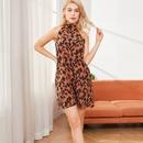 Laceup halterneck print suspender dress NHJC336688