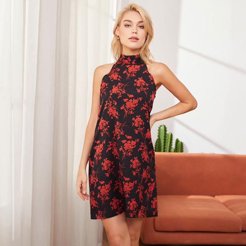 Fashion laceup halterneck print suspender dress NHJC336687