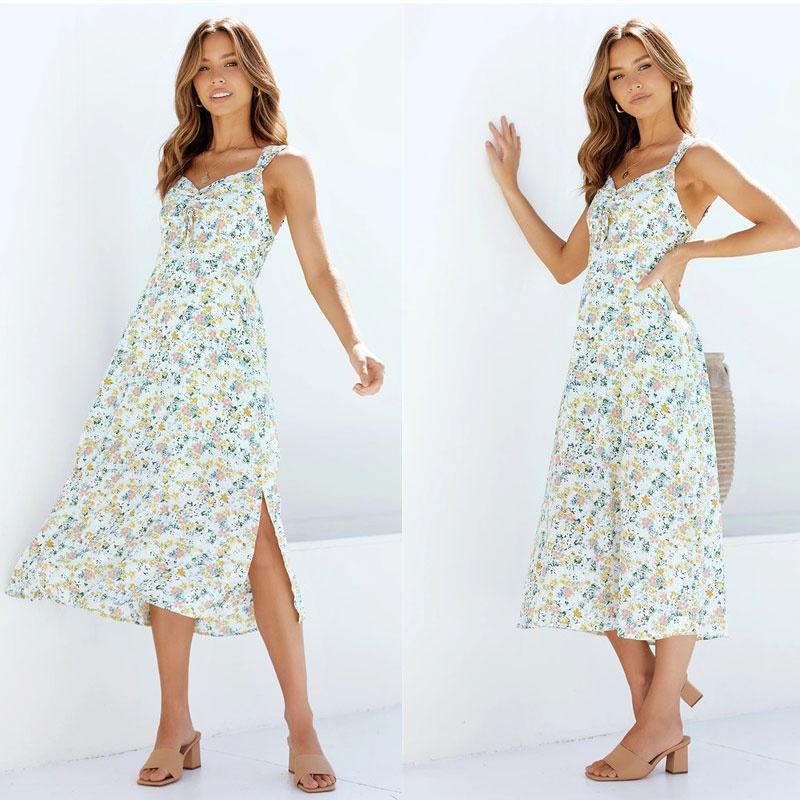 Fashion sling small floral hem slit dress NHJC336686